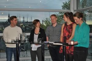 Carl-Johan Schiller (KDU), Estrid Faust (C), Stefan Lindborg (V), Hanna Lidström (MP) och Lisa Deurell.