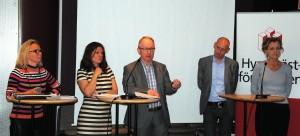 Charlotte Broberg (M) och Nanna Wikholm (S), landstingets tillväxt- och regionplaneringsutskott,  Lars Bryntesson (S), Per-Erik Kanström (M) och Boel Godner (S), kommunalråd i Sigtuna, Upplands Väsby respektive Södertälje kommun.